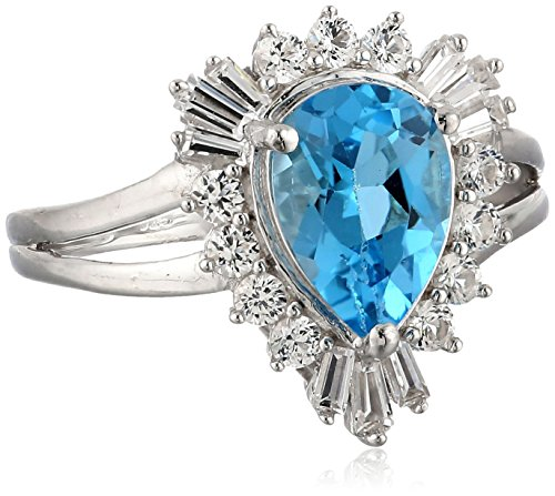 Sterling Silver Pear Shape Blue Topaz with Round And Baguette Created White Sapphire Ring, Size7
