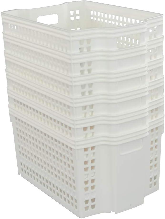 Lot de 6 Sandmovie Paniers Tress/és Panier de Rangement en Plastique Blanc