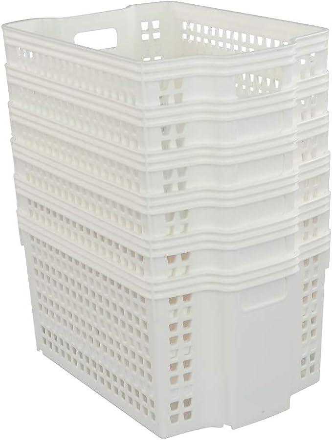 Sandmovie Lot de 6 Paniers de Rangement Plats en Plastique Noir 38,5 cm x 28 cm x 6,5 cm