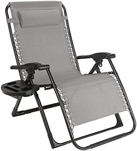 Superworth Super Width 57 CM Folding Zero Gravity Chair Beach Chairs Sun Lounger Recliner For Beach Patio Garden Camping Outdoor Square Steel Legs