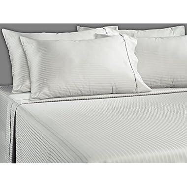 Luxury Stripe 700 Thread Count Cotton Rich 6 Piece Sheet Set (King, White)
