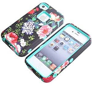 iPhone 5,5S case,iPhone 5 case,iPhone 5s case,iPhone case,Creativecase Carryberry 3in1 Beautiful Flowers Hard Soft High Impact Hybrid Case Combo For iPhone 5 5S #03