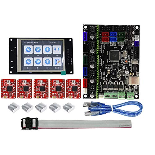 (SODIAL Tft32 Full Color LCD Press Screen + Mks-Gen L Mainboard with 5Pcs Red A4988 Driver 3D Printer Controller Board Kit)