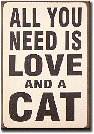 5.5 x 8 Wooden Block Sign Love and a Cat My Word
