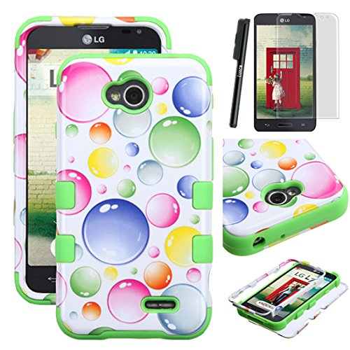LG L70 case, Luxca (Tm) For LG L70 / LG OPTIMUS EXCEED 2 / LG ULTIMATE 2 / LG REALM Dual Layer Verge Hard Armor Hybrid Soft Silicone Dynamic Cover Hard Symbiosis Plastic Tuff Case + Clear LCD Screen Protector + Stylus Pen (Rainbow Bubbles / Green Tuff)