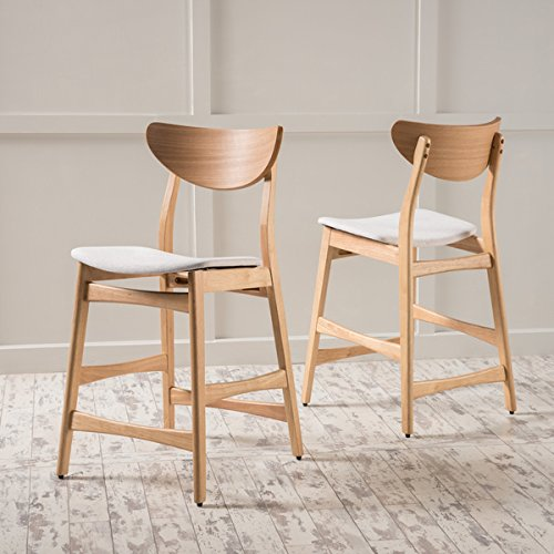 Christopher Knight Home Gavin Mid-Century Wood Counter Stool (Set of 2),Beige with Natural Oak Finish