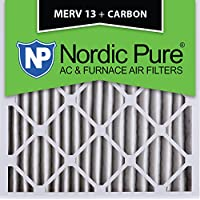 Nordic Pure 24x24x2M13+C-3 MERV 13 Plus Carbon AC Furnace Air Filters, Qty-3