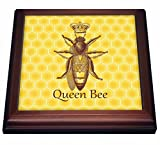 3dRose trv_219442_1 Stately Queen Bee with Royal Crown Over Yellow Honeycomb Trivet with Tile, 8 by 8''