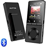 AGPTEK MP3 Player Bluetooth 4.0 with Loud Speaker, 8GB Metal Lossless Music Player Supports FM Radio Recording, Expandable Up to 128GB, Black(M6S)