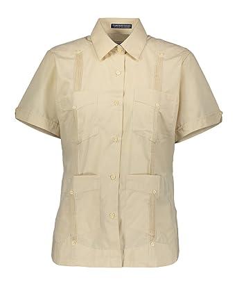 6a086609 AKA Women's Guayabera Shirt Wrinkle Free Short Sleeve Linen Look Natural  Small