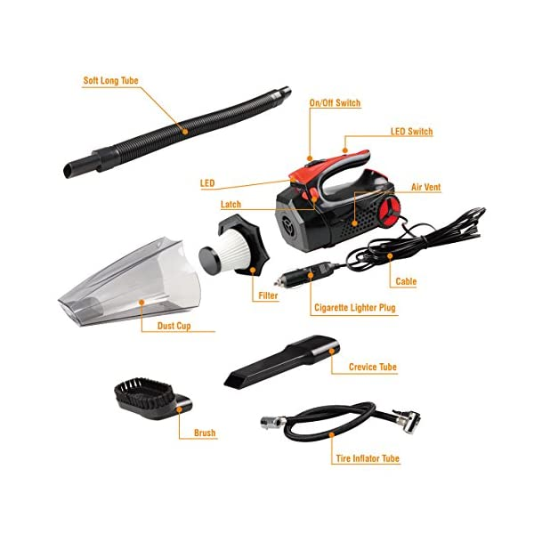 Car Vacuum Cleaner WetDry Handheld Auto Vacuum Cleaner 12V 100W 4kpa With Tire Inflator Tire Pressure Gauge Bright Led Light 4 In 1 Portable Vacuum For Car With 146FT Power Cord