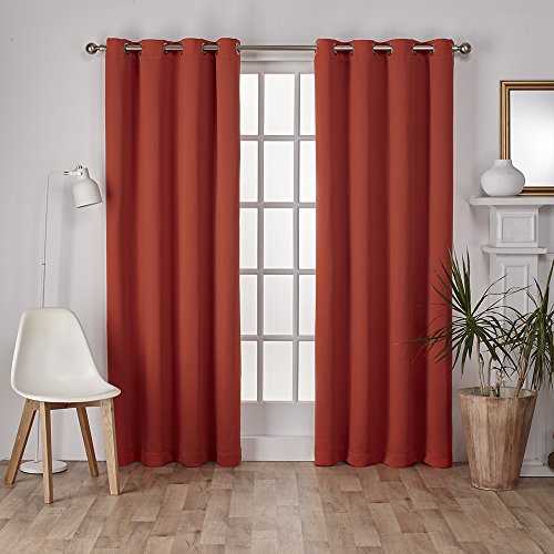 Exclusive Home Curtains Sateen Twill Weave Insulated Blackout Grommet Top Window Curtain Panel Pair, Mecca Orange, 52x96 - Home Panel Bed
