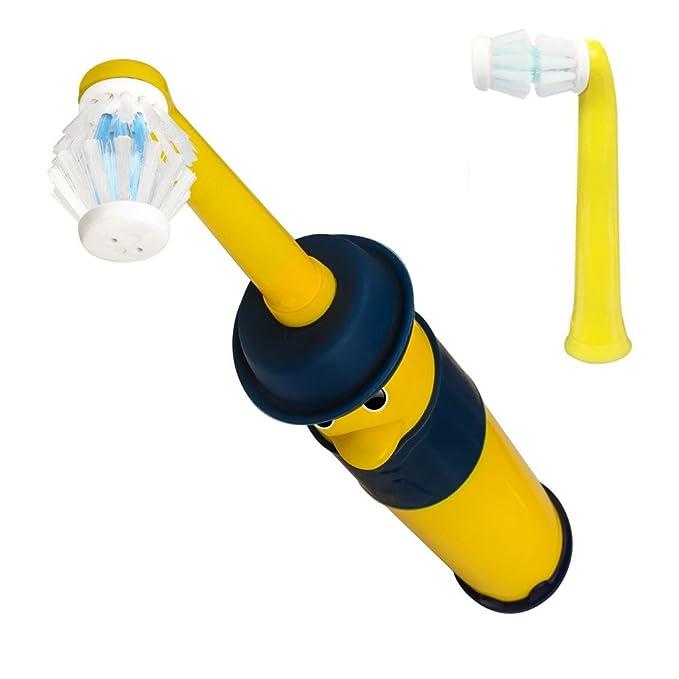 Oralbb Niño Cepillo dental giratorio Amarillo cepillo eléctrico para dientes Dentista profesional recomendado Cepillo de dientes eléctrico Batería,Precision ...