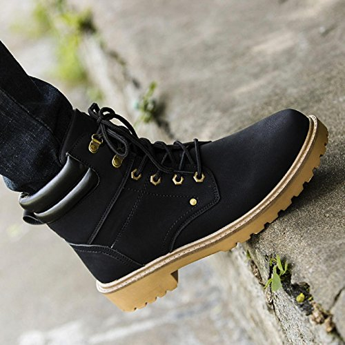 huichang Fashion Men Low Ankle Flat Ankle Winter Autumn Boots Casual Martin Shoes Black k8Gn3Pf