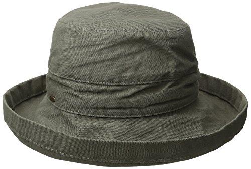 Scala Women's Medium Brim Cotton Hat, Olive, One (Brim Olive)
