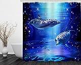Cute Shower Curtains Beddinginn Fabric Decor Shower Curtain Collection Blue Cute Dolphin Swimming in Sea Design 72