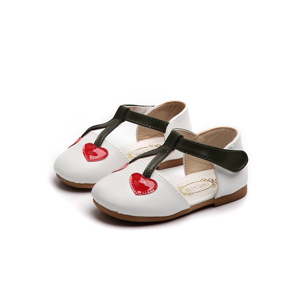 HANMAX Baby Girl Soft Sole Mary Jane Flats with Cherry Heart PU Leather Crib Shoes