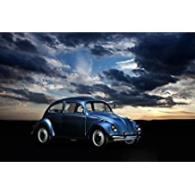 LAMINATED 36x24 Poster: Volkswagen Auto Historically Vw Oldtimer Vehicle Automotive Beetle Classic Car Pkw Retro Oldie Car Brand Motor Vehicle Sky Clouds Abendstimmung Nostalgia Old Cars