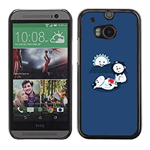 Soft Silicone Rubber Case Hard Cover Protective Accessory Compatible with HTC ONE M8 2014 - Funny LOL Cute Lion Eating