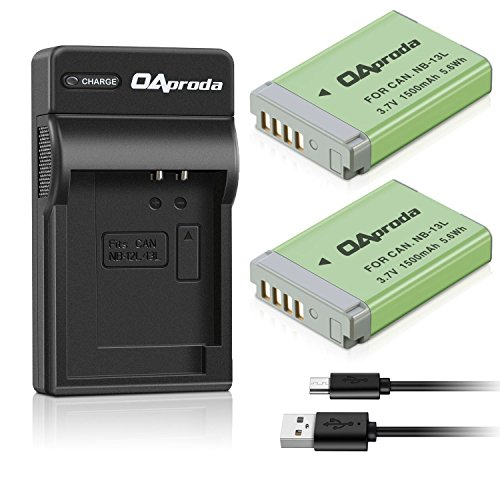 OAproda NB-13L Battery (2 Pack) and Slim USB Battery Charger for Canon PowerShot G1 X Mark III, G5 X, G7 X, G7 X Mark II, G9 X, G9X Mark II, SX740 HS, SX720 HS, SX730, SX620 HS Camera