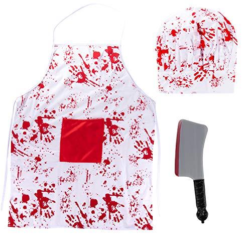 Halloween Bloody Butcher Costume - 3-Set Killer Dress Up, Apron Chef Hat Fake Cleaver, Unisex