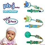 PBnJ baby Pacifier Clip Holder Strap Leash Tether for Boys and Girls with Safe Plastic Clip (Dinosaur, Jungle, Puppy 3-Pack)
