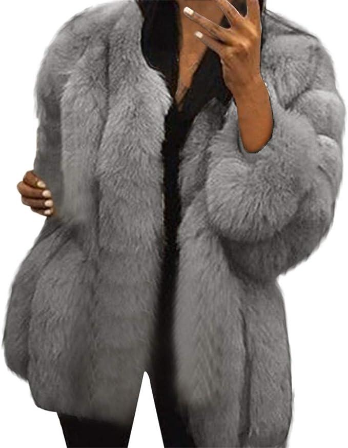 Rosennie Warme Damen Mäntel Winter Kunstpelz Plüsch Mantel Damen Elagant Pelzjacke Kunstpelz Outwear Langarm Frauen Winterjacke Wintermantel Plus