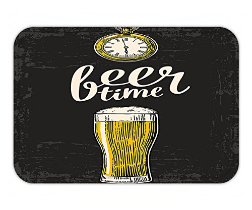 Minicoso Doormat Modern Beer Time Typography with Glass and Old Antique Watch Lifestyle Illustration Yellow Cream - Versace Glasses Old