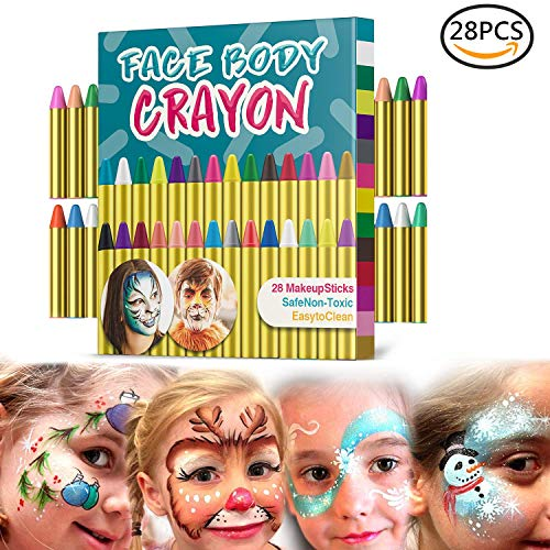 Muscccm Face Painting Crayons kit, 28 Colors Crayons Set for Makeup Body Face