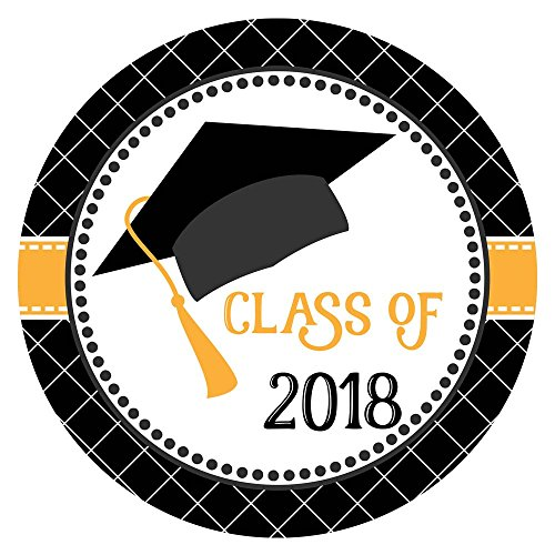 Graduation Cap Class of 2018 Sticker Labels - College University Education Degree Party - Set of 30