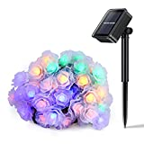 50 LED 26ft Fairy Blossom String Lights, Maigcfly Rose Flower Solar String Lights Outdoor Decorative Light for Halloween Christmas, Home, Garden, Patio, Lawn, Party and Holiday Decor (Multi-color)