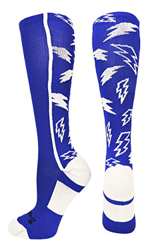 White Lightning Bolt - MadSportsStuff Crazy Socks Lightning Bolts (Royal/White, Small)