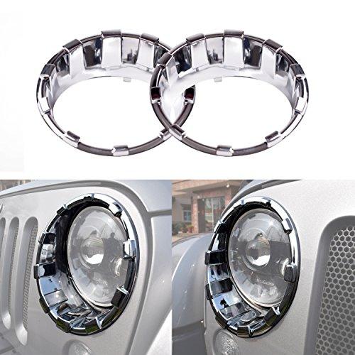 Allinoneparts Front Headlight Chrome Silver Trim Cover Bezels Pair Jeep Wrangler Rubicon Sahara Sport JK Unlimited Accessories 2 door 4 door 2007-2017