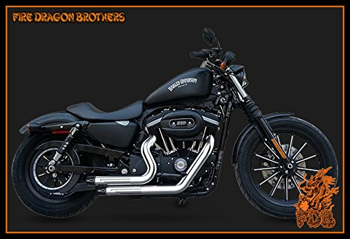 Chrome or Matte Black Dual Exhaust System Slip On Muffler Pipe with CNC Tip for 2004 2005 2006 2007 2008 2009 2010 2011 2012 2013 Harley Sportster XL883 XL1200 Iron 883 48 72 (Chrome+Tip 1) by Protek Sports (Image #2)