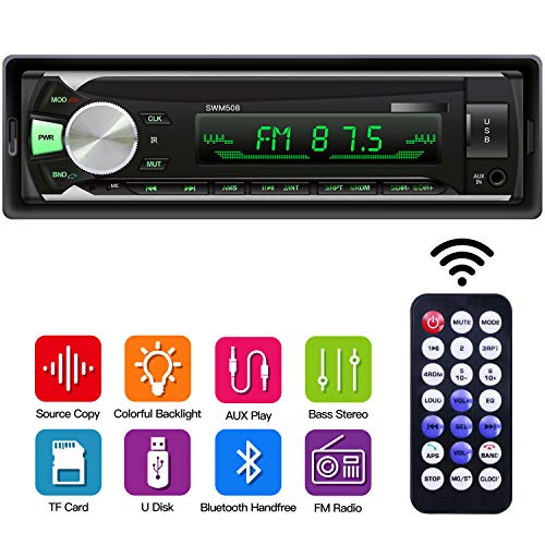 Car MP3 Stereo Player, 1 Din Car Radio Bluetooth Receiver with Source Copy Function, Multicolor Backlight, USB/SD Card/AUX Playback Single Din Autoradio