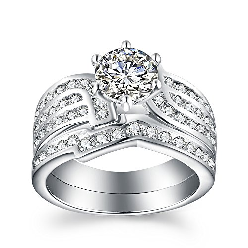 VAN RORSI&MO Engagement Wedding Ring Set for Women 1.2ct Round Cubic Zirconia 925 Sterling Silver Bridal Sets Size 10 -