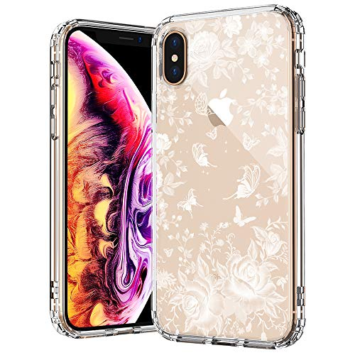 White Rose Garden - MOSNOVO iPhone Xs MAX Case, White Roses Garden Floral Flower Pattern Printed Clear Design Transparent Plastic Back Case with TPU Bumper Gel Protective Case Cover for iPhone Xs MAX