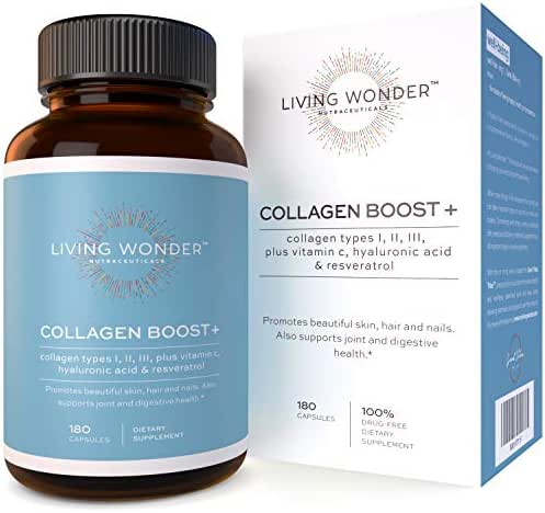 Collagen Boost Plus-Collagen Pills for Women -180 Collagen Capsules with Vitamin C,Hyaluronic Acid, Resveratrol -Multi-Collagen Type 1,2,3-Anti-Aging Supplement for Skin, Hair, Nails