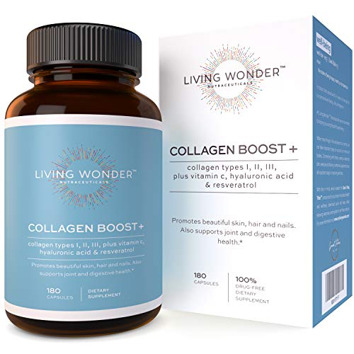 Collagen Boost Plus - Collagen Pills for Women -180 Collagen Capsules with Vitamin C, Hyaluronic Acid, Resveratrol - Multi-Collagen Type 1,2,3 - Anti-Aging Supplement for Skin, Hair, Nails (Prenatal Collagen)