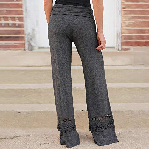 Grigio Donna Donna Pantaloni Vita Palazzo XL Pantalone Pizzo Con Yoga Larghi Donna S Casual Trasparenti Alta Dragon868 Pantalone 8IT55q