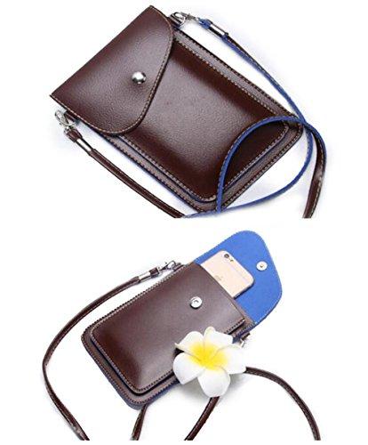 PU la de cuero Bolso Pequeña Crossbody Azul Mini carpeta Teléfono Tibes de Café de Bolso móvil Bolso la cqI6g4