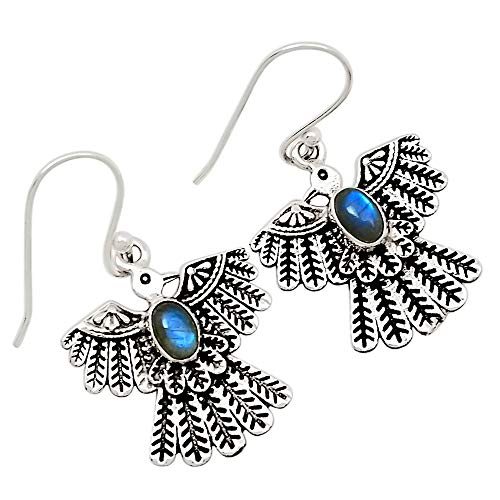 Xtremegems Southwest American Eagle - Labradorite 925 Sterling Silver Earrings Jewelry 1 3/8
