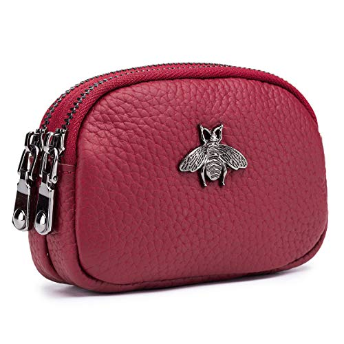 imeetu 2 Zippered Coin Pouch Purse Change Holder Wallet Change Purse Credit Card Key Holder(Red)