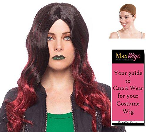 Gamora Galaxy Wig Color Black/Burgundy - Enigma Superhero Guardians Infinity Zoe Thanos Daughter Bundle with Cap, MaxWigs Costume Wig Care Guide -