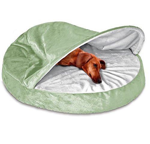 1 Piece Sage Green Orthopedic Medium 26 Inches Snuggery Burrow Comfort Pet Bed, Light Green Color Round Design Ortho Dog Foam Bedding Zippered Removable Cover Hood Flexible Hoop, Polyester Microvelvet