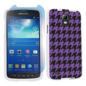 Quaroth Samsung Galaxy S4 Active SGH-i537 (AT&T) White Protection Case + Screen Protector - Purple Houndstooth By SkinGuardz...
