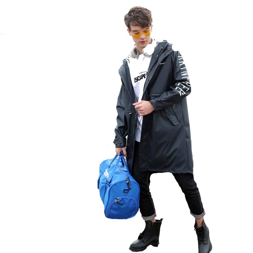 noir X-grand GERUAFU Imperméable Veste imperméable dans Le Long Adulte Adulte imperméable Homme et Femme imperméable adapté pour Le Tourisme de Plein air randonnée Camping