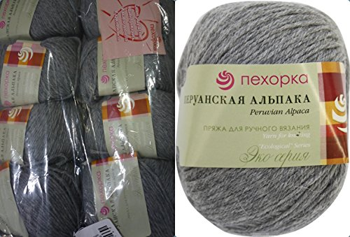 50% Alpaca 50% Merino Wool Yarn Pehorka Peruvian Alpaca Thread Crochet Hand Knitting Art Lot of 8skn 400gr 1312yds Color 414 Gray - Peruvian Merino Wool