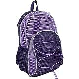 Eastsport Mesh Backpack With Bungee, Blackberry/Lavender Blocked
