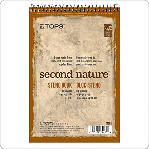 TOPS Second Nature Steno Book, 6 x 9 Inch, Gregg Rule, Recycled, 80 Sheets, 12-Pack, White (74688) Photo #3